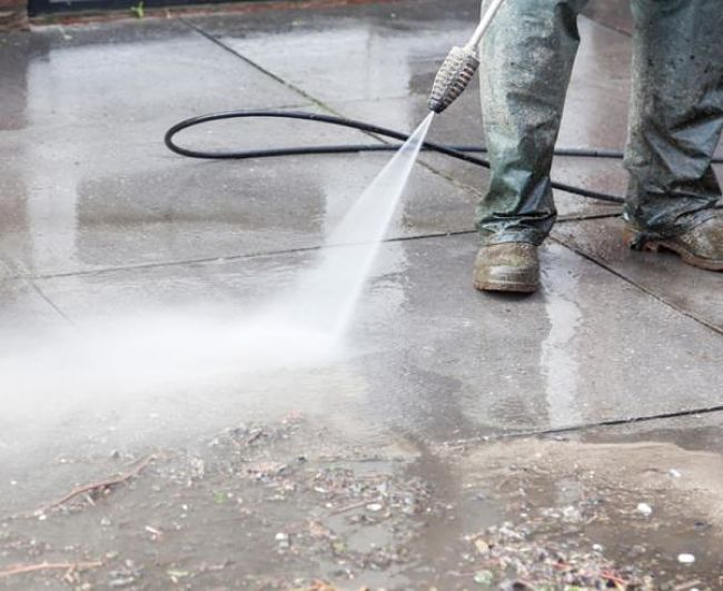 High pressure sprays are very effective for cleaning concrete