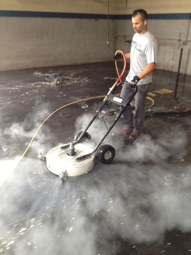 You can hire professional concrete cleaning machine or use a local contactor