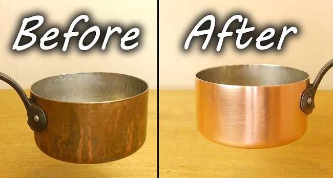 Before and After cleaning copper using the methods in this comprehensive article