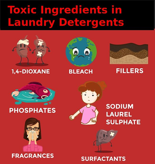 Known toxic ingredients in commercial laundry detergent