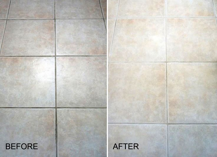 Before and After view showing how effective natural remedies can be for cleaning slate and other hard tiles